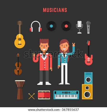 Set of Vector Icons and Illustrations in Flat Design Style. Profession Musician. Male and Female Cartoon Characters Surrounded by Musical Instruments - stock vector