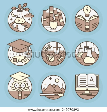 Set of vector icons. Education, reading, literature, archeology, e-book, art, knowledge, mind. - stock vector