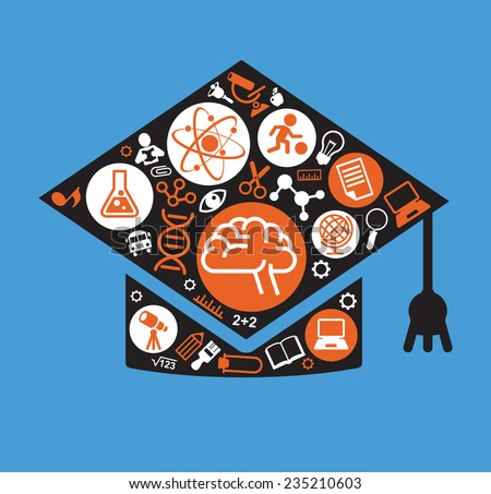 Set of vector icons for education concept in the form of an academic cap.  flat design illustration. The concept of modern education - stock vector