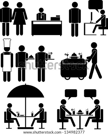 Set of vector icons for restaurants and cafe - stock vector