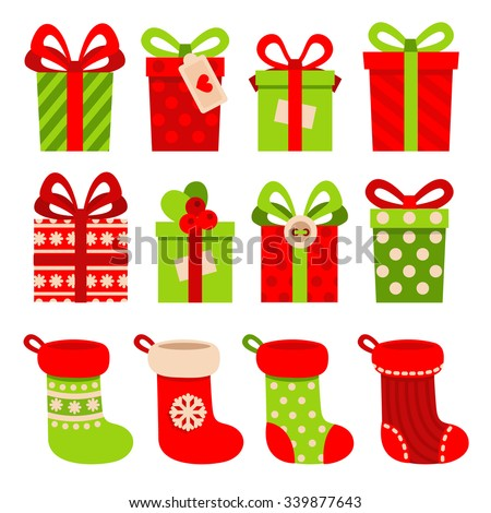 Set of vector icons in flat style for Christmas. Stylish set of gifts and Christmas socks. - stock vector