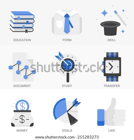 Set of vector icons into flat style. Business and finance, market research, search engine optimization, promotion of a product. Isolated Objects in a Modern Style for Your Design. - stock vector