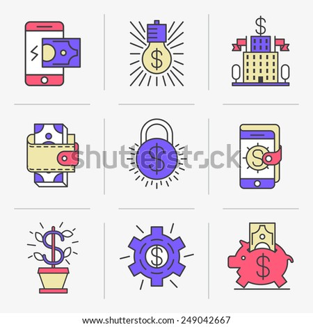 Set of vector icons into flat style. Mobile commerce, online payment, receipt of payments, banking, monetary transactions. Isolated Objects in a Modern Style for Your Design. - stock vector