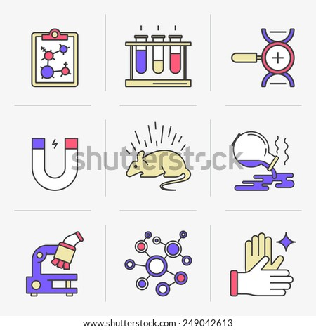 Set of vector icons into flat style.  Scientific approach, animal studies, a failed experiment. Isolated Objects in a Modern Style for Your Design. - stock vector