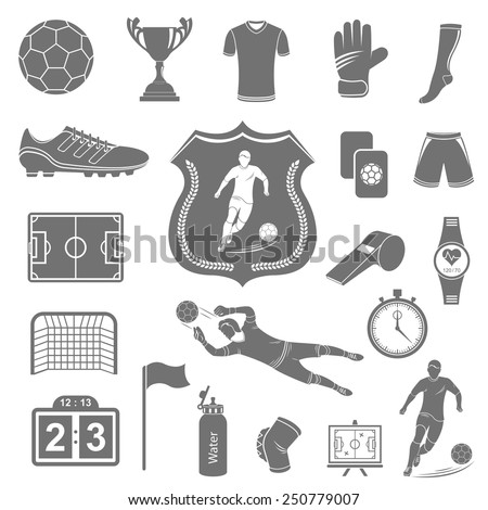 Set of vector icons, logos and symbols of football. Silhouettes of soccer equipment and uniforms of players on a white isolated background - stock vector. - stock vector