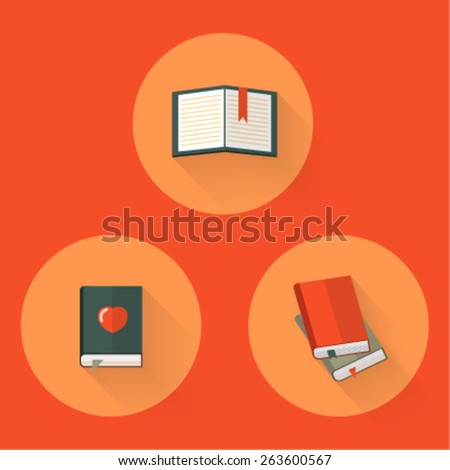 set of vector icons of books - stock vector