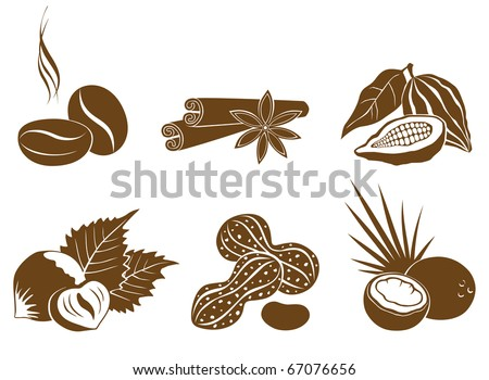 Set of vector icons of dessert ingredients brown - stock vector