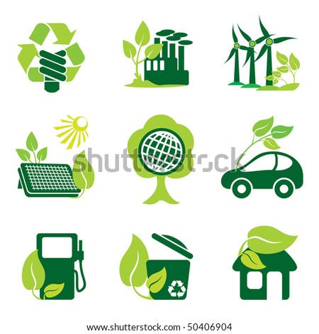 set of vector icons of environment protection and renewable sources of power - stock vector