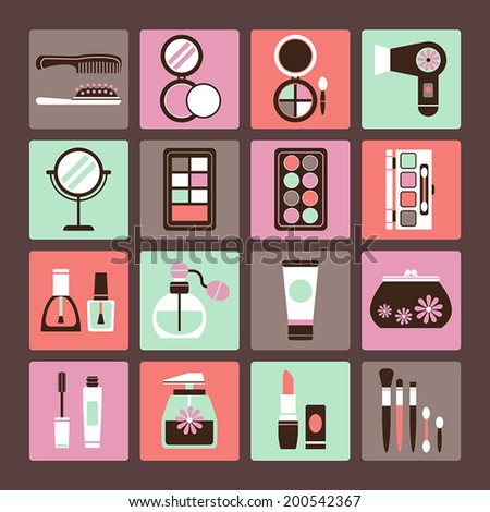 Set of vector icons of makeup and cosmetics - stock vector