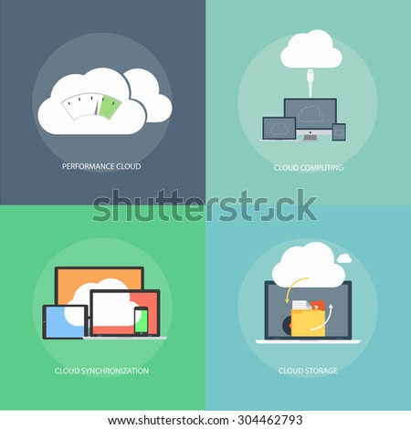 set of vector icons of modern flat cloud computing, cloud storage, cloud sync, cloud performance - stock vector