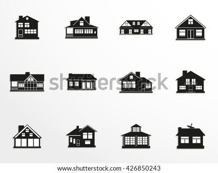 Set of vector icons on the theme of private homes. - stock vector