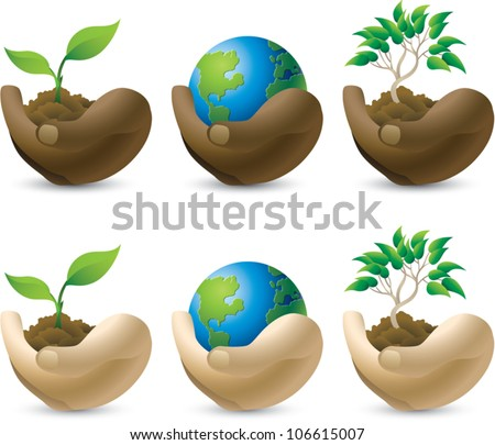 Set of vector icons that represent caring for the environment, isolated on white. - stock vector