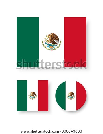 Set of vector icons with Mexico flag - stock vector