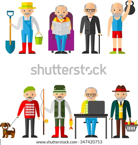 Set of vector Illustration of adult man in different situations Leisure time old man sports, gardener, buyer, the work at the computer - stock vector