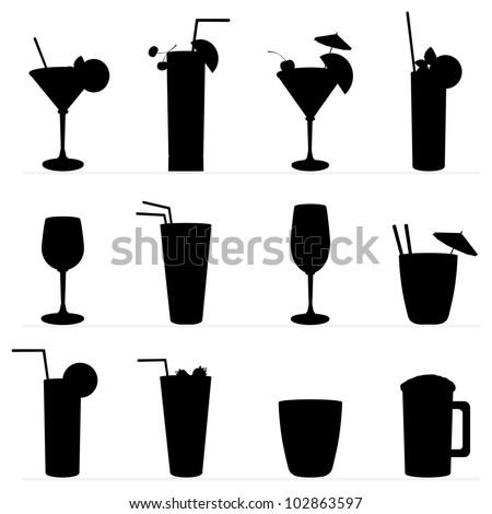 Set of vector illustration of different drinks and cocktails. Black silhouette . - stock vector