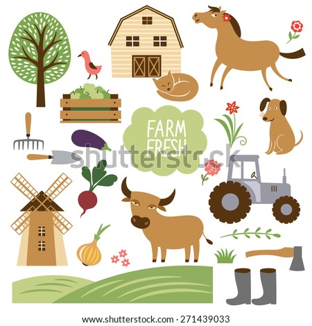 set of vector illustration of farm animals and related items - stock vector