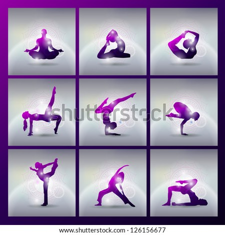 set of vector illustration of meditating and doing yoga poses - stock vector