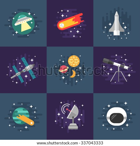 Set of Vector Illustrations in Flat Design Style. Space Theme. Planets, Rockets, Stars, Comet - stock vector