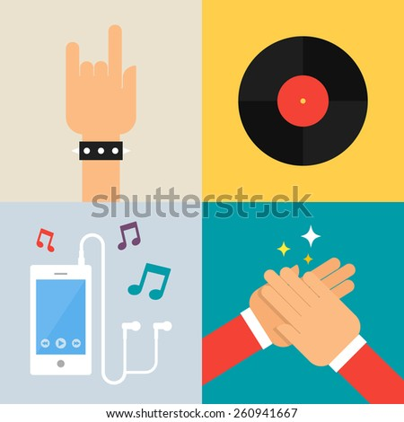 Set of vector illustrations - music  - stock vector