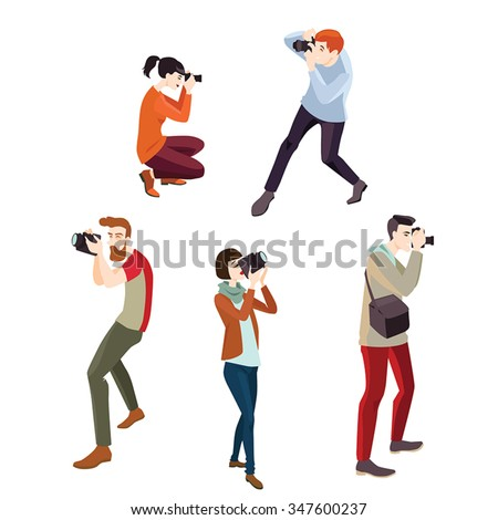 set of vector illustrations of photographers , in a cartoon style - stock vector