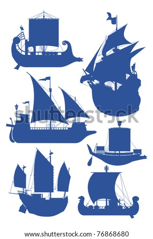 set of vector illustrations of silhouettes of sailing ships - stock vector