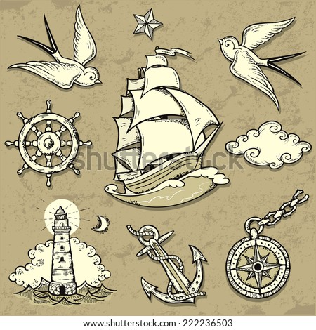 Set of vector illustrations on the theme of sea travel in tattoo style - stock vector