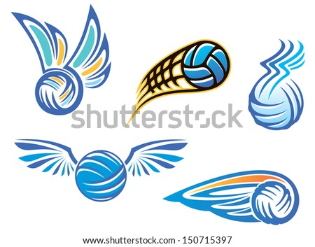 Set of vector illustrations showing five different designs of a championship football or soccer ball with wings. Jpeg version also available in gallery - stock vector