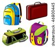 set of vector images of bags and backpacks luggage - stock vector