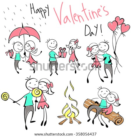 Set of vector images of couples in the sketch style. Characters in different situations. sketch design character on Valentine day. Couple with pink balloons, presents heart for your design. Vector - stock vector