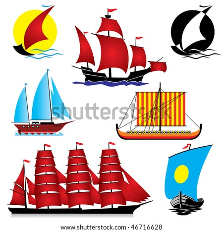 set of vector images of sailing ships - stock vector
