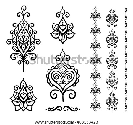 Set of vector Indian floral ornaments, mandala, henna, Boho style, ethnic, yoga, tattoo, abstract, border, heart, flower - stock vector