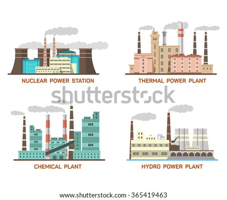 Set of vector industrial flat illustration of different types of power plants. Conception of making energy and pollution of the environment. Nuclear, thermal, hydro, chemical energy. EPS 10 - stock vector
