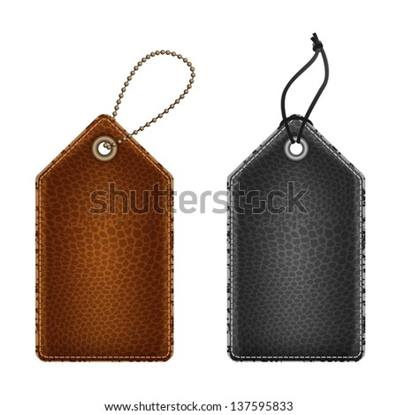 set of vector isolated leather tag labels - stock vector