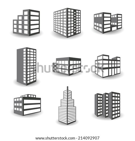 Set of vector isometric building icons isolated on white background - stock vector