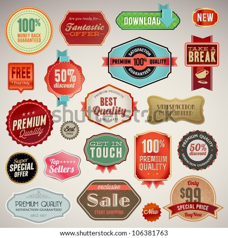 Set of vector labels and stickers - stock vector
