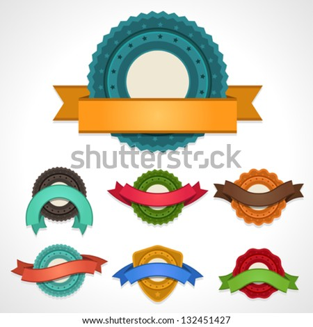 Set of vector labels, badges and ribbons. - stock vector