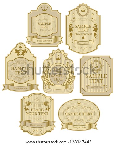 set of vector labels beige gold color - stock vector