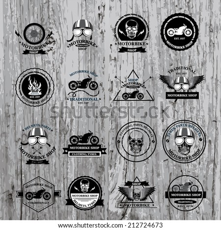 Set of vector labels, motorbike shop.  - stock vector