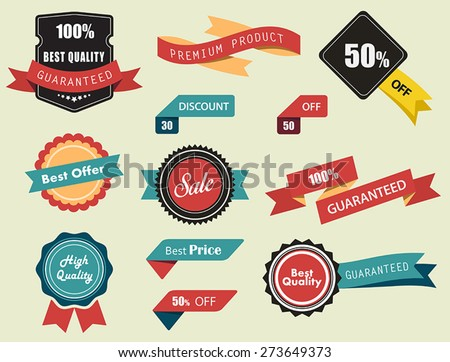 Set of Vector Labels, Stickers and Ribbons, vintage look and feel./Set of Vector Labels, Stickers and Ribbons/Set of Vector Labels, Stickers and Ribbons - stock vector
