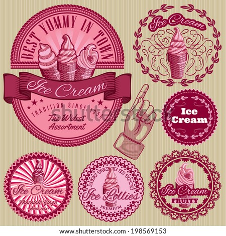 set of vector labels with ice cream for packing - stock vector