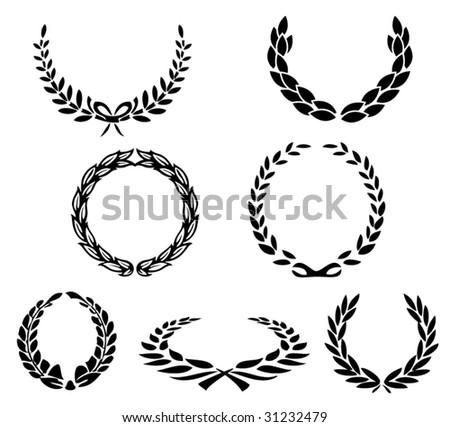 set of vector laurels - stock vector