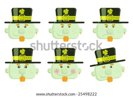 Set of vector leprechauns smiles - stock vector