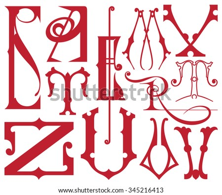 Set of vector letters of the English alphabet. - stock vector