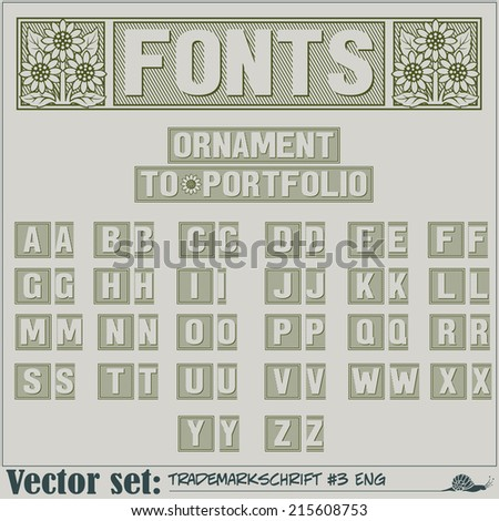 Set of vector letters of the English alphabet (Ornament for fonts to portfolio) - stock vector
