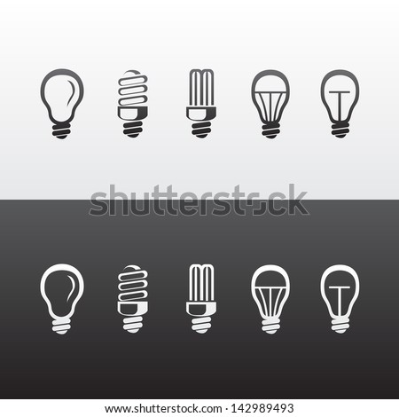 Set of Vector Light Bulbs Icons - stock vector