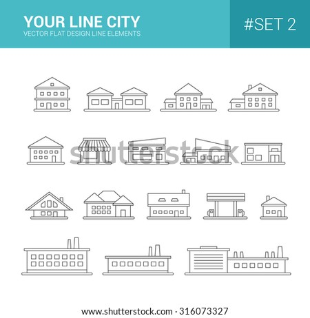 Set of vector line flat design buildings icons