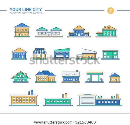Set of vector line flat design buildings icons - stock vector