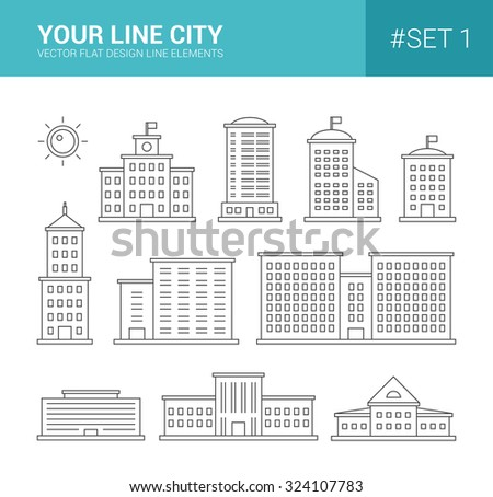 Set of vector line flat design buildings icons. Skyscrapers, government and administrative buildings  - stock vector