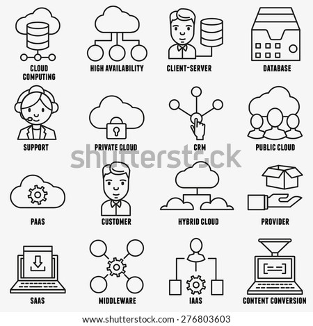 Set of vector linear cloud computing icons - part 1 - vector icons - stock vector