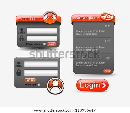 set of vector login password, security window screen, web form templates. - stock vector